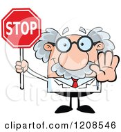 Cartoon Of A Science Professor Holding Out A Hand And Stop Sign Royalty Free Vector Clipart