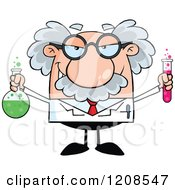 Cartoon Of A Science Professor Holding A Flask And Tube Royalty Free Vector Clipart by Hit Toon #COLLC1208547-0037