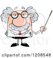 Cartoon Of A Science Professor Holding A Pointer Stick Royalty Free Vector Clipart by Hit Toon