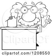 Cartoon Of An Outlined Science Professor Speaking Behind A Podium Royalty Free Vector Clipart