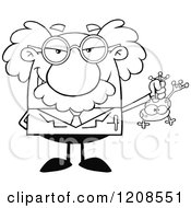 Cartoon Of An Outlined Science Professor Holding A Frog Royalty Free Vector Clipart by Hit Toon
