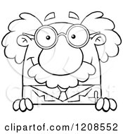 Cartoon Of An Outlined Science Professor Smiling Over A Sign Royalty Free Vector Clipart by Hit Toon