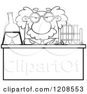 Cartoon Of An Outlined Science Professor Conducting An Experiment Royalty Free Vector Clipart