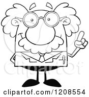 Cartoon Of An Outlined Science Professor With An Idea Holding Up A Finger Royalty Free Vector Clipart by Hit Toon