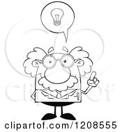 Cartoon Of An Outlined Science Professor With An Idea Royalty Free Vector Clipart by Hit Toon