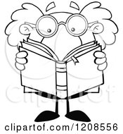 Cartoon Of An Outlined Science Professor Reading A Book Royalty Free Vector Clipart