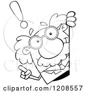Cartoon Of An Outlined Science Professor With An Idea Looking Around A Sign Royalty Free Vector Clipart by Hit Toon