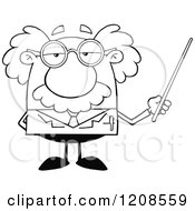 Cartoon Of An Outlined Science Professor Holding A Pointer Stick Royalty Free Vector Clipart by Hit Toon