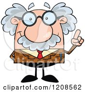Cartoon Of A Professor Holding Up An Idea Finger Royalty Free Vector Clipart