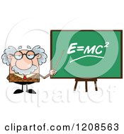 Cartoon Of A Professor Holding A Pointer Stick To A Physics Chalk Board Royalty Free Vector Clipart