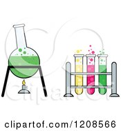 Cartoon Of A Chemistry Or Science Laboratory Experiment With Test Tubes And A Boiling Flask Royalty Free Vector Clipart