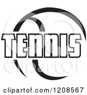 Clipart Of A Black And White Ball And TENNIS Text Royalty Free Vector Illustration by Johnny Sajem