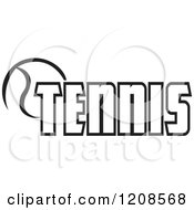 Clipart Of A Black And White Ball And TENNIS Text 2 Royalty Free Vector Illustration by Johnny Sajem