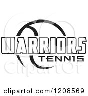 Clipart Of A Black And White Tennis Ball And WARRIORS Team Text Royalty Free Vector Illustration by Johnny Sajem