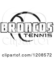 Clipart Of A Black And White Tennis Ball And BRONCOS Team Text Royalty Free Vector Illustration