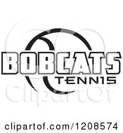 Clipart Of A Black And White Tennis Ball And BOBCATS Team Text Royalty Free Vector Illustration