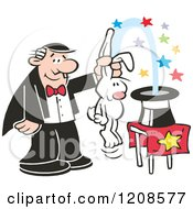 Cartoon Of A Caucasian Magician Pulling A Rabbit Out Of A Hat Royalty Free Vector Clipart