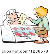 Cartoon Of A Friendly Caucasian Butcher Handing A Cut Of Meat To A Customer Royalty Free Vector Clipart