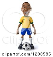 Clipart Of A 3d Brazilian Soccer Player Standing Over A Ball 2 Royalty Free CGI Illustration