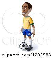 Clipart Of A 3d Brazilian Soccer Player Standing Over A Ball 3 Royalty Free CGI Illustration