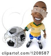 Clipart Of A 3d Brazilian Soccer Player Holding Up A Ball Royalty Free CGI Illustration