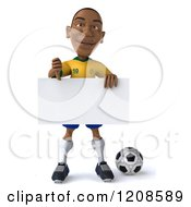 Clipart Of A 3d Brazilian Soccer Player Holding A Thumb Down And Sign Over A Ball Royalty Free CGI Illustration