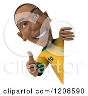 Clipart Of A 3d Brazilian Soccer Player Holding A Thumb Up Around A Sign Royalty Free CGI Illustration