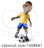 Clipart Of A 3d Brazilian Soccer Player In Action 6 Royalty Free CGI Illustration