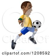 Clipart Of A 3d Brazilian Soccer Player In Action 7 Royalty Free CGI Illustration