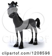 Clipart Of A 3d Happy Black Horse Royalty Free CGI Illustration