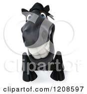 Clipart Of A 3d Happy Black Horse Over A Sign Royalty Free CGI Illustration