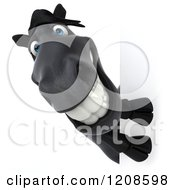 Clipart Of A 3d Happy Black Horse Looking Around A Sign Royalty Free CGI Illustration