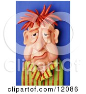 Clay Sculpture Clipart Sick And Tired Sleep Deprived Man Royalty Free 3d Illustration by Amy Vangsgard #COLLC12086-0022