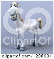 3d Happy White Horse On Shading