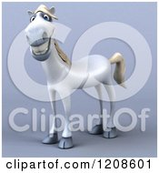 Clipart Of A 3d Happy White Horse On Shading Royalty Free CGI Illustration by Julos