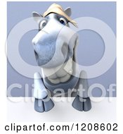 Clipart Of A 3d Happy White Horse Over A Sign On Shading Royalty Free CGI Illustration by Julos