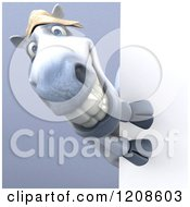 Clipart Of A 3d Happy White Horse Looking Around A Sign On Shading Royalty Free CGI Illustration by Julos