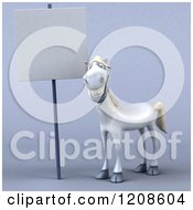 3d Happy White Horse Under A Posted Sign On Shading
