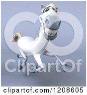 3d Happy White Horse Running On Shading