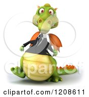 Clipart Of A 3d Green Business Dragon Walking Royalty Free CGI Illustration