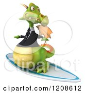 Clipart Of A 3d Green Business Dragon Surfing 3 Royalty Free CGI Illustration