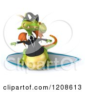 Clipart Of A 3d Green Business Dragon Wearing Sunglasses And Surfing Royalty Free CGI Illustration