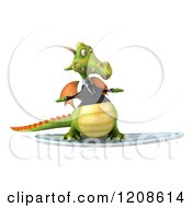 Clipart Of A 3d Green Business Dragon Surfing 2 Royalty Free CGI Illustration