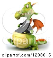 Clipart Of A 3d Green Business Dragon Walking 2 Royalty Free CGI Illustration