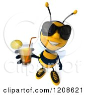 Clipart Of A 3d Bee Mascot Wearing Sunglasses And Holding Up An Iced Tea Juice Or Cocktail Royalty Free CGI Illustration