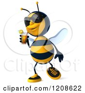 Clipart Of A 3d Bee Mascot Wearing Sunglasses And Walking With An Iced Tea Juice Or Cocktail Royalty Free CGI Illustration