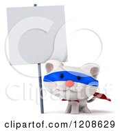 Clipart Of A 3d White Super Kitten Under A Posted Sign Royalty Free CGI Illustration