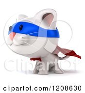 Clipart Of A 3d White Super Kitten Facing Left Royalty Free CGI Illustration