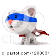 Clipart Of A 3d White Super Kitten Facing Left 2 Royalty Free CGI Illustration