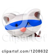 Clipart Of A 3d White Super Kitten Over A Sign Royalty Free CGI Illustration